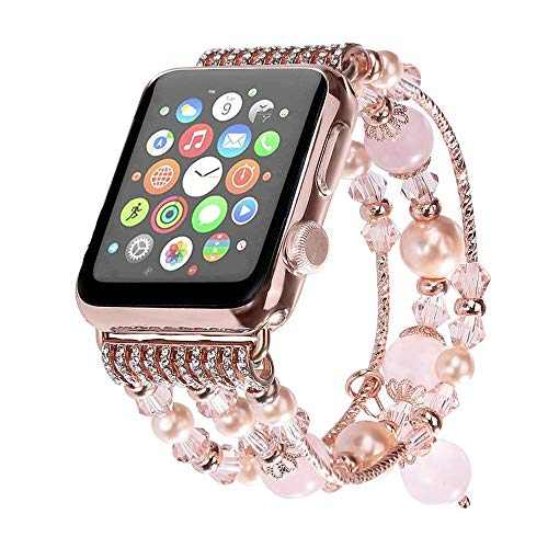 Aspack Replacement Bands Compatible Apple Watch Band 38mm/42mm iWatch Band Women Fashionable Faux Pearl Bracelet Beaded for Apple Watch Series 4 Series 3 Series 2 Series 1 Version