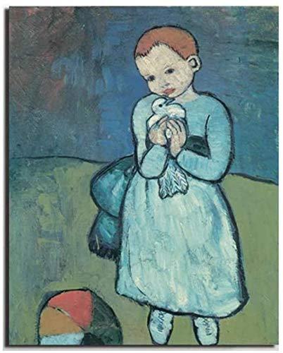 Crazystore Moderno 50x70 cm sin Marco Póster de Pablo Picasso Impresiones Niño con una Paloma Picasso Lienzo Pintura al óleo Sala de Estar Moderna Decoración de Dormitorio para niños