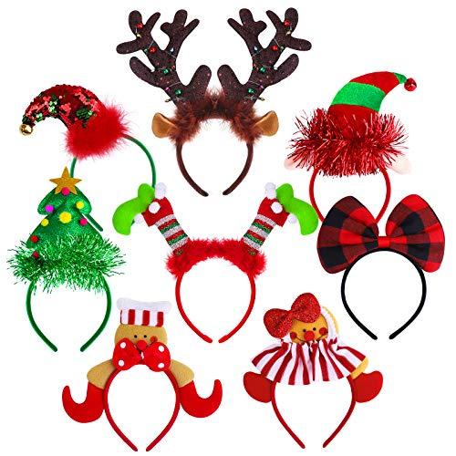 Aneco 8 Pack Novelty Christmas Headbands Assorted Elves Headband Gingerbread Man Headwear Reindeer Costume Hair Hoop for Christmas Party Accessoriess