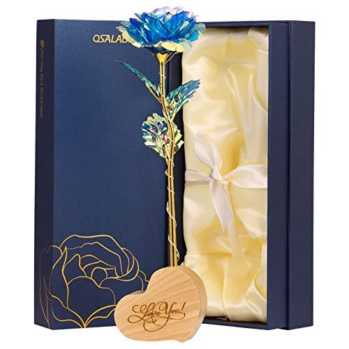 OSALADI Rosa Galaxy Rose con luz LED y soporte de corazón, regalo de Beauty and The Beast para los amantes, regalo de flores de Forever Roses para bodas, San Valentín, Día de la Madre