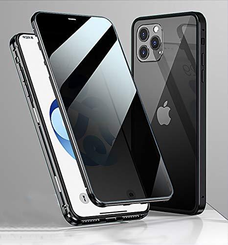 WMCOVER Funda para Apple iPhone 12 Pro MAX Anti-Spy Carcasa,360° Proteccion Funda con Anti-Peep Privacy Vidrio Templado Cover,Adsorción Magnética Rugged Metal Marco Bumper Anti-pío Case,Negro