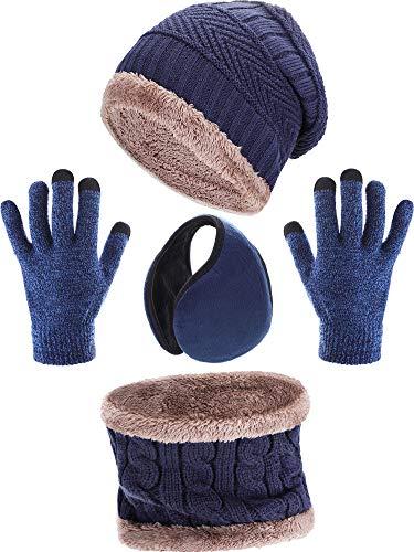 Tatuo 4 Stück Ski Warm Set Beinhaltet Winter Mütze Schal Warmer Handschuhe Winter Draussen Ohrenschützer für Erwachsene Kinder (Navy Blau)