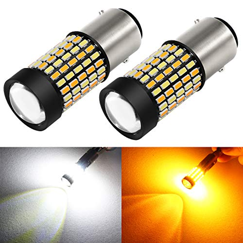 Phinlion Super Bright White Amber Dual Color Switchback 1157 2057 2357 7528 LED Bulbs with Projector for Car Parking Turn Signal Lights