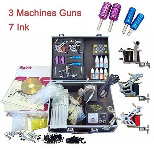 Tattoo Komplett Set 7 Inks 3 Tattoomaschine Netzgerät Tätowierset Kits, 50 Farben Nadeln w/Koffer
