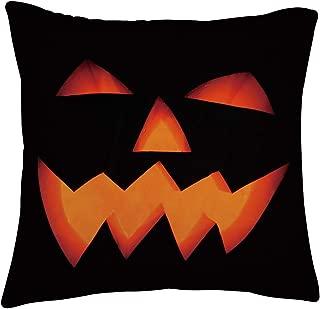 Creepy Festive Laughing Black Pumpkin Element Throw Pillow Personalized Terrible Lightweight Fluffy Pillowcase Insert Super Soft Velvet Square Zipper Hidden Bloster for Spooktacular Photo Prop Shoot