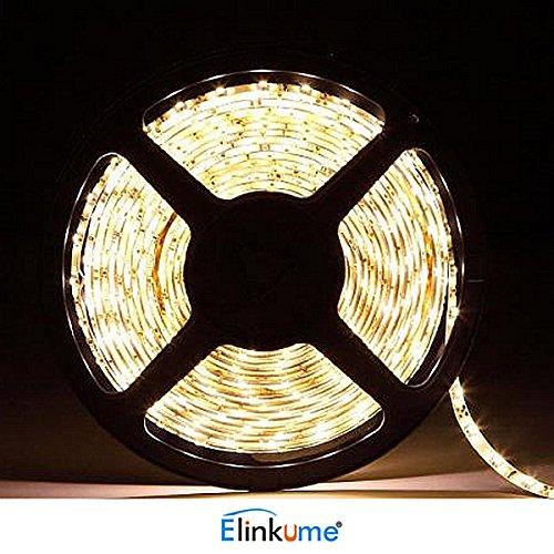 ELINKUME® nicht wasserdicht 10 M 2835 SMD (warmweiß) unterstützt Max 1200Leds Streifen, LED Band für Gärten/Häuser/Küche/Autos/Bar