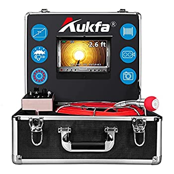 Aukfa Sewer Camera 100ft Snake Cam with Distance Counter DVR Video Sewer Pipe Inspection Equipment 7 inch LCD Monitor Duct HVAC 1000TVL Endoscope Waterproof IP68 Camera  8GB SD Card