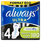 Always Ultra Secure Night, Serviettes Hygiéniques Ailettes, Taille 4, x180 serviettes