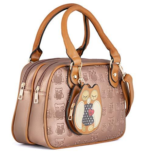 KukuBird Handtasche mit Eulen-Motiv, Kunstleder, Designer-Handtasche, Beige - beige - Größe: Large
