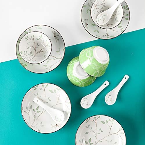 FDPVJSS Vajilla de cerámica, Cuencos, platillos, cucharas, Trajes de 12 Piezas, para hornos de microondas