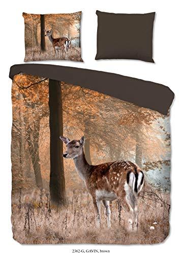 Good Morning! Juego de cama de 3 piezas, funda nórdica de 240 x 220 cm y funda de almohada de 60 x 70 cm, color marrón