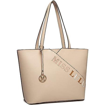Miss Lulu Damen Handtasche Elegant Schwarze Große Schultertasche Shopper (Beige)