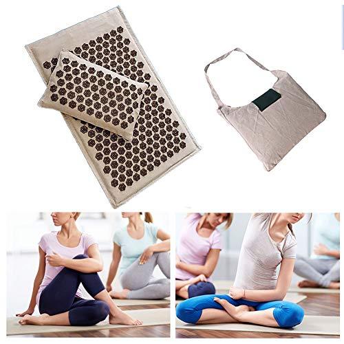 QIYU Akupressurmatte Set, Akupressurmatte & Kissen für Massage Wellness Entspannung und Verspannungen Entspannung Muskeln Entspannung - mit Tragetasche