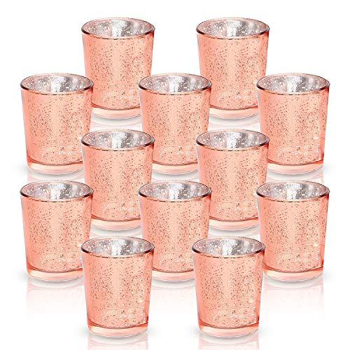 LA BELLEFÉE 12 Vasos de Vela Decorativas, Candelabro Vidrio para Veladoras Aromáticas,...