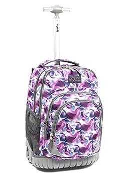 Tilami Kids Rolling Backpack 18 inch Boys and Girls Laptop Backpack Purple