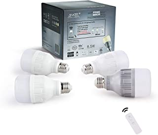 ANKEE Smart LED Light Bulb - E26 WiFi 8.5Watt Warm White Dimmable Group Light Bulbs, Controlled in Unison – No Hub Required, Compatible with Alexa and Google Assistant (1 Prime + 3 Minor Bulbs)