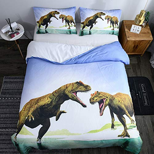 BH-JJSMGS 3D printed dinosaur pattern duvet cover and pillowcase, easy care soft microfiber-bedding and pillowcase, EU-Double200*200cm (three-piece set) double dinosaur