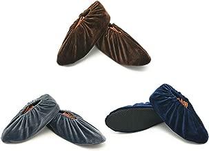 SENDILI Surchaussures Reutilisable 5 Paires Surchaussures Lavables Couvre-chaussure Anti Glisse Antid/érapant Chausson avec Flanelle pour Maison le M/énage