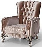 Casa Padrino sillón Barroco de Lujo Rosa/Plata 91 x 86 x A. 104 cm - Sillón de salón con patrón Elegante - Muebles Barroco