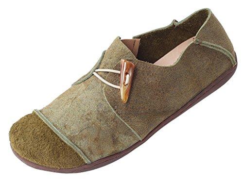 Vogstyle Damen Frühjahr/Sommer Handgefertigte Leder Ebene-Schuhe Grün Art 1 EU41/CH42