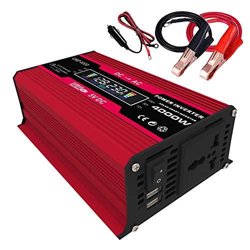 Varadyle 4000W Pico Solar Inversor de Corriente para AutomóVil 12V a AC 110V Convertidor Adaptador de AutomóVil con Pantalla LCD Inteligente Salidas de CA Rojo