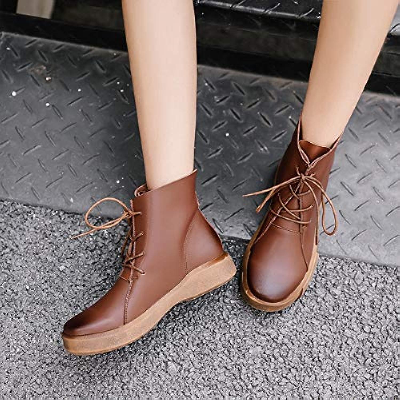 Top Shishang Shishang Leder Flache Martin Stiefel Damenschuhe Retro Stiefel England Spitze, braun, 40  Hersteller direkte Versorgung