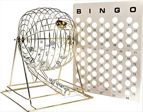 Regal Games Jumbo Brass - Juego de jaula de bingo profesional con...