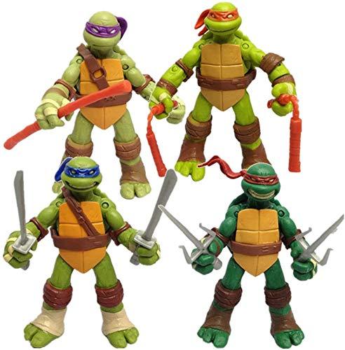 FYSM Statua di Teenage Mutant Ninja Turtles, Modello di Personaggio Anime Mutante Adolescente, Bambola Mobile, Giocattolo di Compleanno per Bambini, 12 cm (4,8 Pollici)