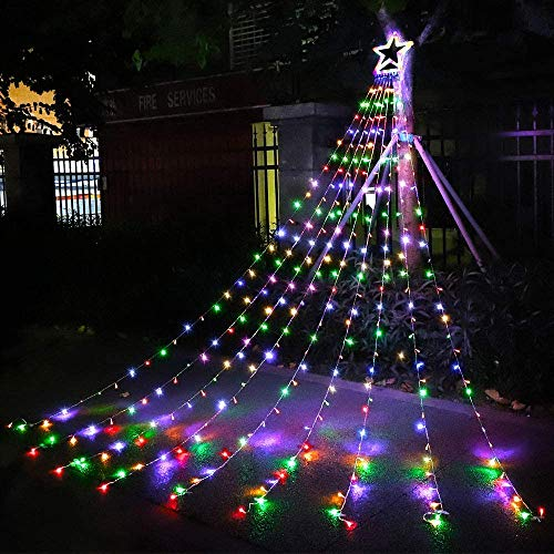Outdoor Christmas Decorations Star Lights String,320 LED 16.4 ft Christmas Tree Lights , 8 Memory Lighting Modes&Timer Christmas Star Lights for Yard,Festival,Party,Christmas Decorations (Multicolor)