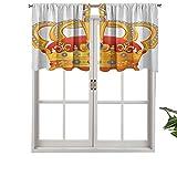 Cortinas pequeñas para ventana de cocina con cenefas de corona real con símbolo de imagen imperial, juego de 2, 42 x 24 pulgadas para cocina, baño y cafetería.