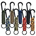 Paracord Keychain Carabiner, Braided Lanyard Utility Ring Hook Outdoor Camping EDC Survival Kit (8 Pack)
