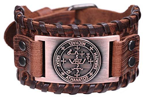 VASSAGO Pulsera de Cuero con diseño gótico y Sello de Amuleto de Sal