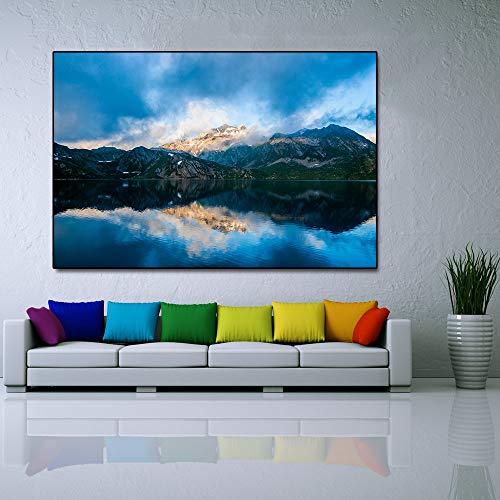 N / A Rahmenlose Malerei nordische Naturlandschaft Bergsee Blauer Himmel Poster Wandkunst Dekoration auf LeinwandZGQ7561 20x30cm