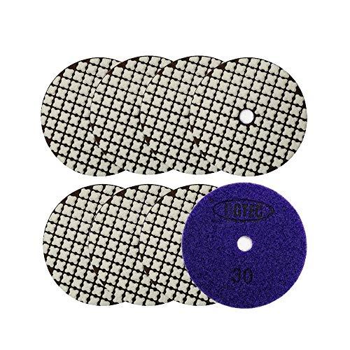 BGTEC Juego de almohadillas de pulido de diamante seco de 10 cm, 8 piezas para granito, mármol, piedra, azulejos de cuarzo, hormigón, bordes de piso, pulido de encimera
