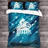 LZMM Hojas Enduro Motocross Dirt Bike Braaap 3 Piece Bedding in Classic Design Bedding Set (1 Duvet Cover+2 Pillowcases)