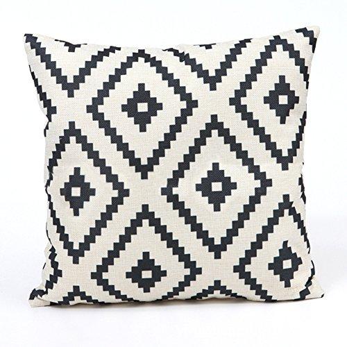 Cupcinu® Funda de almohada de algodón 45 x 45 cm geométrico negro y blanco lino funda de cojín funda de cojín Decor del hogar