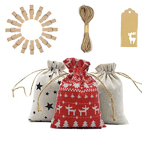 24 pcs Advent Calendar Burlap Bags Set, Exquisite 24 Day Christmas Advent Calendar, Hanging Christmas Bags for Gifts with Drawstrings, Christmas Treat and Goodie Bags, DIY Christmas Countdown Decor