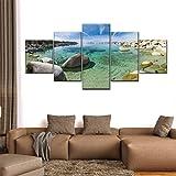 Laimi Para decoraciones de Navidad Lake Tahoe Shoreline Pictures Pinturas en lienzo 5 piezas lienzo grande arte de pared 5 paneles moderno con marco decoración ilustraciones regalo creativo