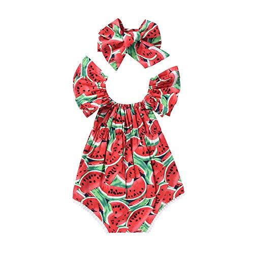 Conjunto de 2 piezas de verano para niña de bebé con impresión de vestido, manga y volantes cortos + banda con lazo de 0 – 3 años rojo 6-12 meses