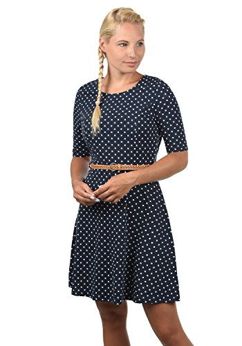 VERO MODA Scarlet Damen Jerseykleid Shirtkleid Kleid Mit Rundhals-Ausschnitt Elastisch, Größe:L, Farbe:Navy Blazer/White Dots