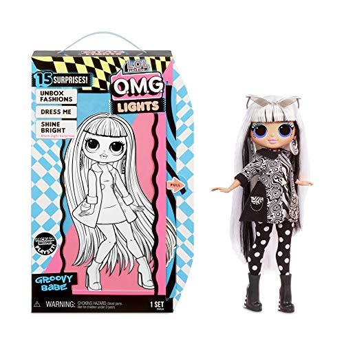 LOL Surprise Bambole alla Moda da Collezione, Con 15 Sorprese, Vestiti e Accessori, Groovy Babe, OMG Serie Lights