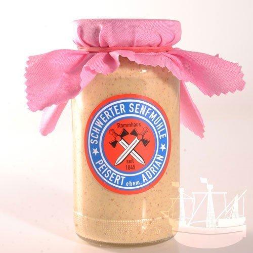 Knoblauch Senf, im Glas, 'Nix für Vampire', zu Fleischgerichten, Gegrilltem, dressing, Schwerter Senfmühle, 185 ml - Bremer Gewürzhandel