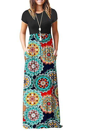 AUSELILY Women Short Sleeve Loose Print Floral Pleated Casual Long Maxi Dresses with Pockets (XS, Round Red)