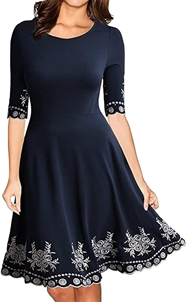 VEZAD Women Fashion Half Sleeve O-Neck Print Casual Slim Mini Dress