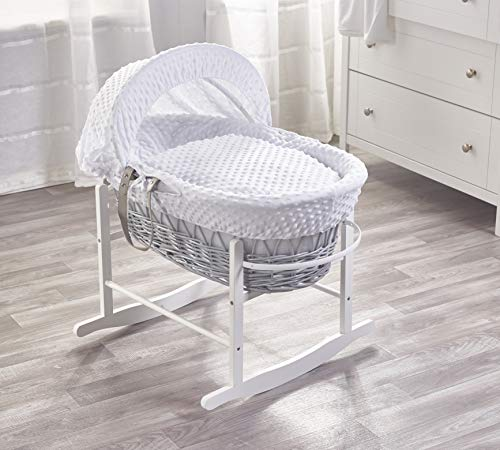 Kinder Valley White Dimple Grey Wicker Moses Basket with White Rocking Stand, Adjustable Hood, Mattress & Padded Liner