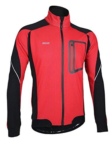 iCREAT Herren Jacke Air Jacket Winddichte Wasserdichte Lauf- Fahrradjacke MTB Mountainbike Jacket Visible reflektierend, Fleece Warm Jacket für Herbst, ROT Gr.M