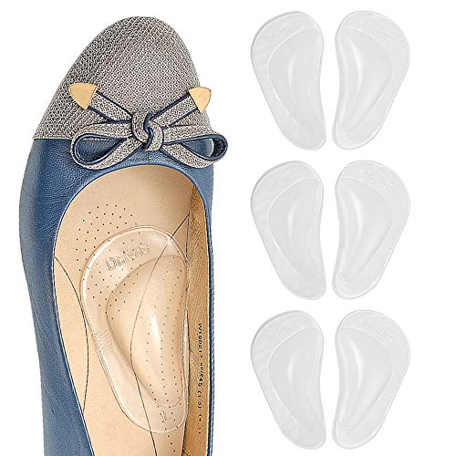 Dr. Foot's Arch Support Shoe Insoles for Flat Feet, Gel Arch Inserts for Plantar Fasciitis, Adhesive Arch Pad for Relieve Pressure and Feet Pain- 3 Pairs ( Clear)