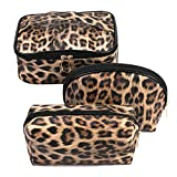 Makeup Bag Leopard Travel Large Toiletry Bag 3 Pack Portable Cheetah Cosmetic Organizer Pouch with Small Brush Storage Case Gold Zipper Waterproof for Women and Girls