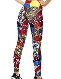 Mallas Deporte Mujer Leggins Yoga Pantalón Medias Deportivas Patrón de Dibujos Animados Gym Pantalones Deportivos Elástico Polainas para Running Pilates Fitness Ejercicio (A, S)