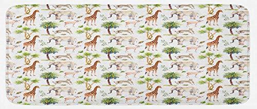 HARXISE Tappeto Antiscivolo,Acquerello Elefante, Animali Selvatici Giraffa Ghepardo Antilope Savana Palme Safari Tropico, Multicolore,da Usare Come zerbino o per Soggiorno,Camera da Letto,corridoio